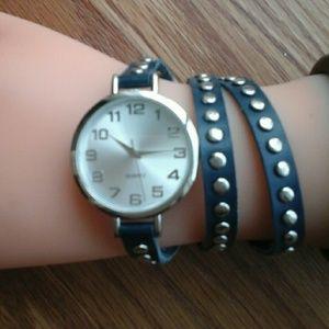 Accessories - Wrap Leather/Studs Bracelet & Quartz Watch